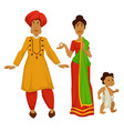 indian family woman in sari and man in turban baby vector image vector image