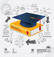 infographic Template with book and Graduation cap vector image vector image