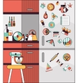 Kitchen interior flat line vector image vector image