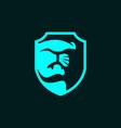 leopard head logo template with shield symbol vector image vector image