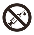 no drugs sign no syringe sign vector image vector image