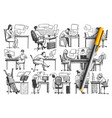 people in office hand drawn doodle set vector image vector image