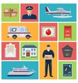 Post Office Flat Icons vector image vector image
