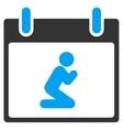 Pray Person Calendar Day Toolbar Icon vector image vector image