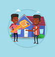 real estate agent giving key to new house owner vector image