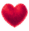 red fur heart isolated on white background vector image vector image