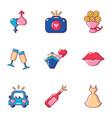 romantic setting icons set cartoon style vector image