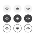 set 3 simple design eye icons rounded vector image