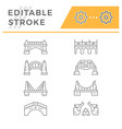 set line icons of bridges vector image