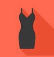 Sexy black dress icon with long shadow vector image