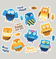 stickers designs with blue and orange owls vector image vector image