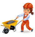 strong woman builder in helmet and uniform rolls a vector image vector image