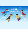superheroes flying in cloudy sky vector image