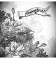 Vintage monochrome floral background with birds vector image