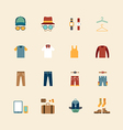 web flat icons set - man clothing store vector image vector image