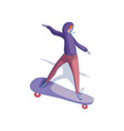 young trendy girl riding skateboard female in vector image