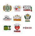 casino template with colorful logo labels vector image