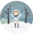 a girl and the first snow vector image