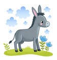 a cute donkey is standing in a clearing vector image vector image