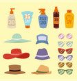 beach accessories summer hats collection vector image vector image