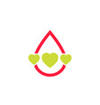 blood donation logo with hearts vector image