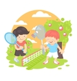 Boys playing badminton vector image vector image
