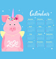 calendar for 2020 week start on sunday cute pig vector image vector image