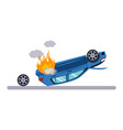 car and transportation issue with burning car vector image