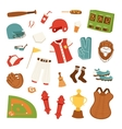 Cartoon baseball icons vector image vector image