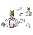Cartoon garlic vegetable with green sprouts vector image vector image