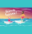 cheerful surfer and dog are relax vector image vector image