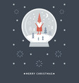 christmas card funny gnome in a snow gl vector image