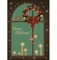 Christmas greeting card with wreatjh on window vector image vector image