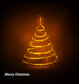christmas tree card background gold christmas vector image