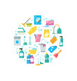 clean house concept with cleaning and washing vector image vector image