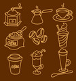coffee drinks outline icon set vector image vector image