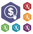 Dollar click rhombus icons vector image vector image