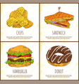 Donut chips sandwich and hamburger colorful card