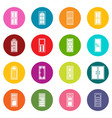 door icons many colors set vector image vector image