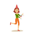 flat woman dancing in party hat vector image vector image