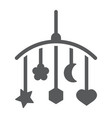 hanging toys glyph icon child and bed vector image