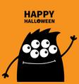 happy halloween cute black silhouette monster vector image