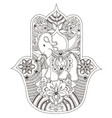 indian hamsa with an elephant vector image vector image