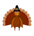 isolated colored turkey with a pilgrim hat icon vector image vector image