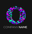 letter o logo with pink purple green particles vector image