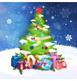 merry christmas card holiday decoration pine tree vector image