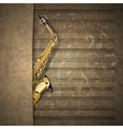 musical background sax on old sheet music notation vector image vector image