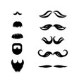 mustache and beard set vector image vector image