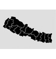 nepal map - high detailed black map with vector image vector image