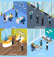 office people isometric design concept vector image vector image